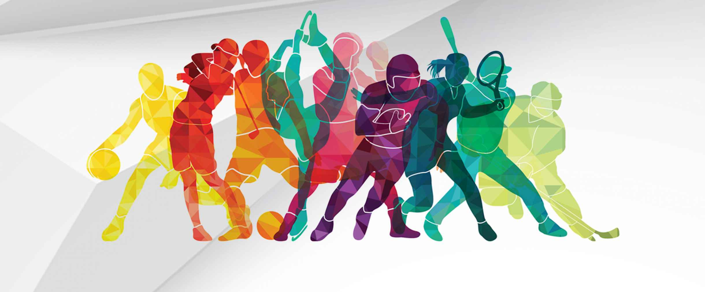 A group of different colored people images in various poses for different sports