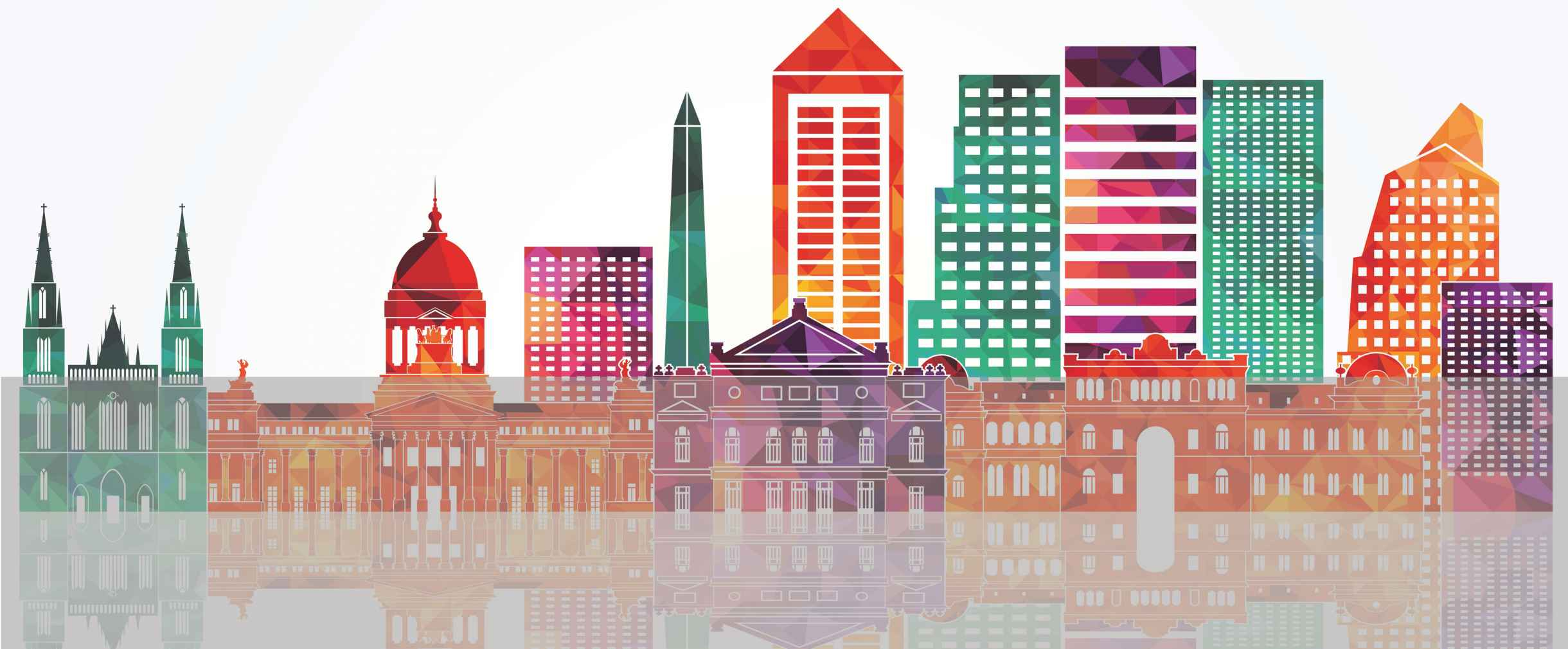 Colorful graphic of city buildings