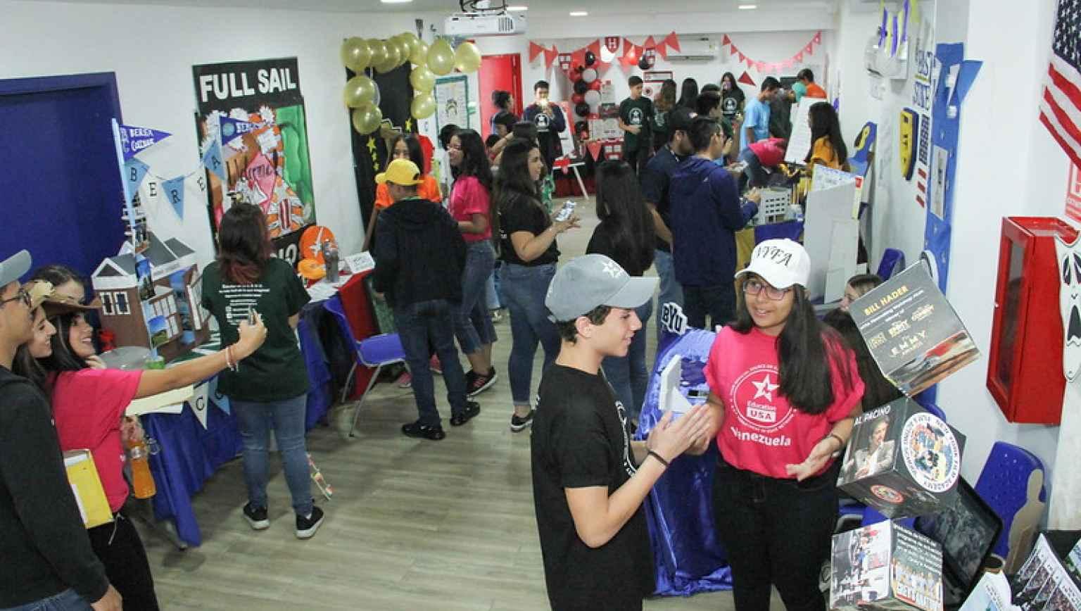 International students representing US HEIs at EducationUSA Mock College Fair