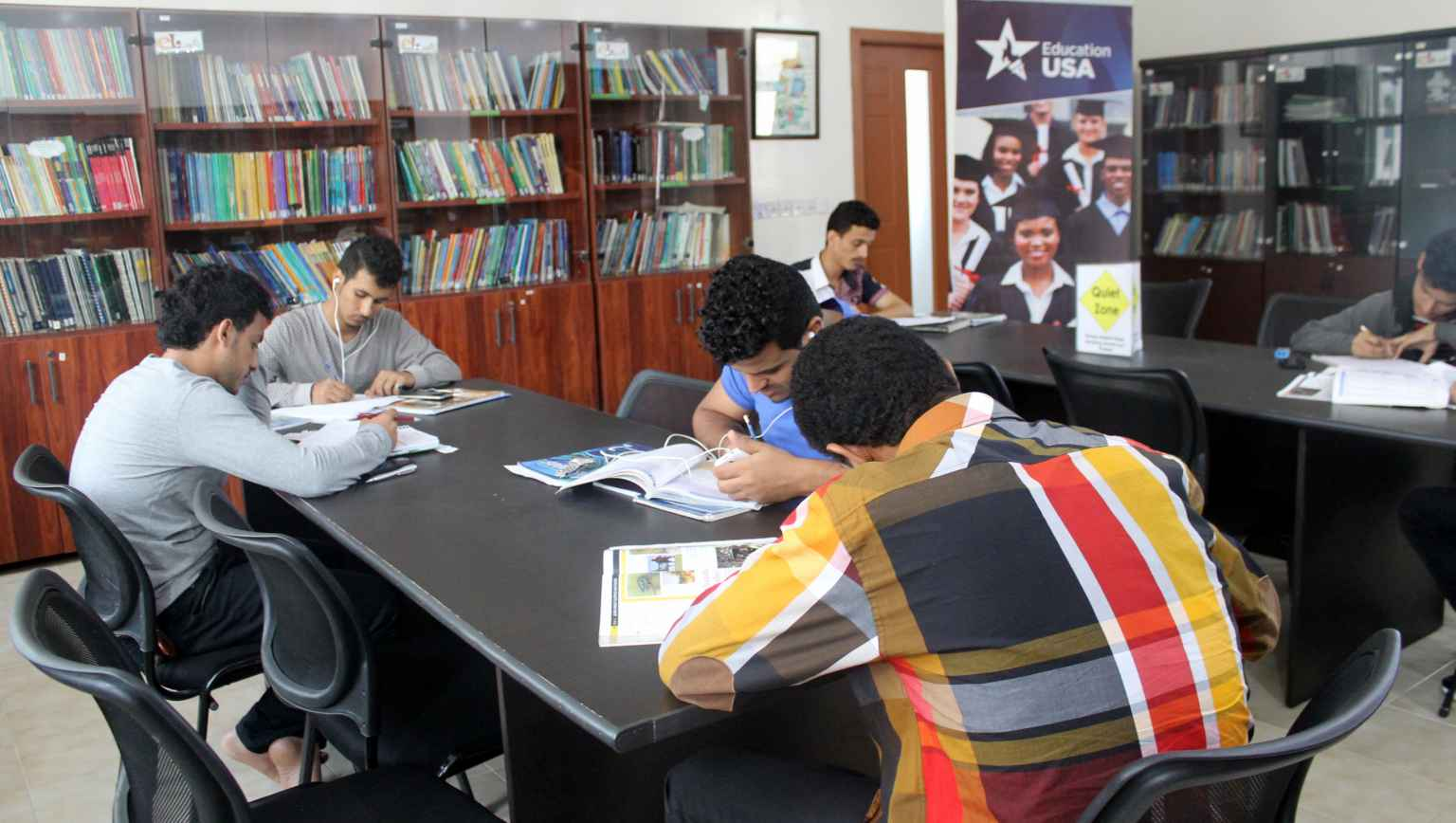 International students in EducationUSA library study room