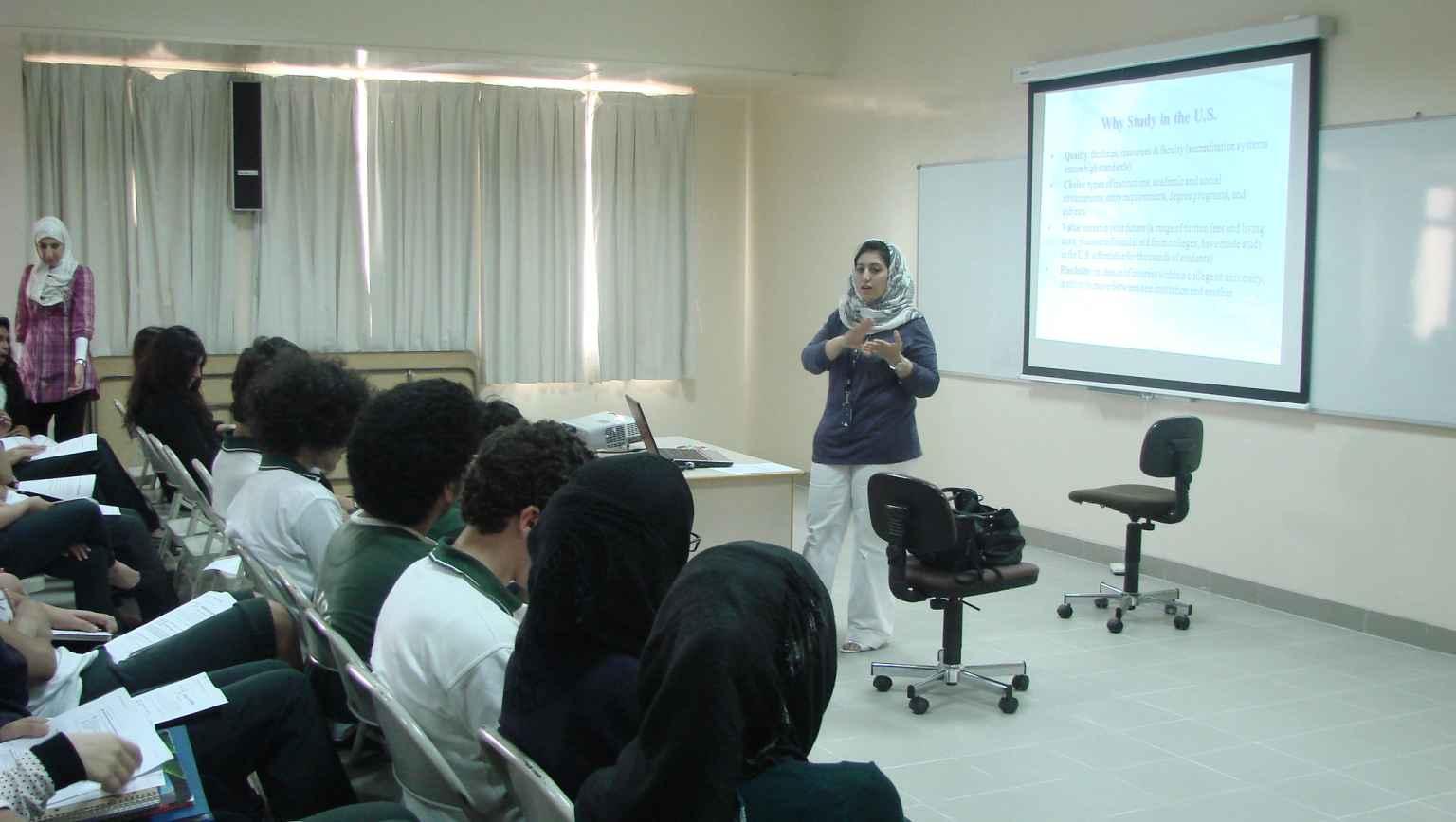 Advisor speaking at EducationUSA infromation session for international students