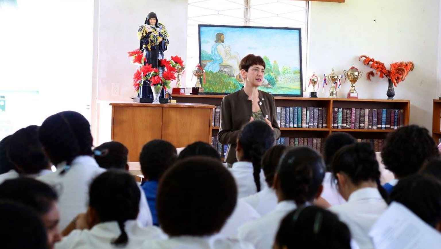 US Ambassador speaks at an all girls school in Fiji