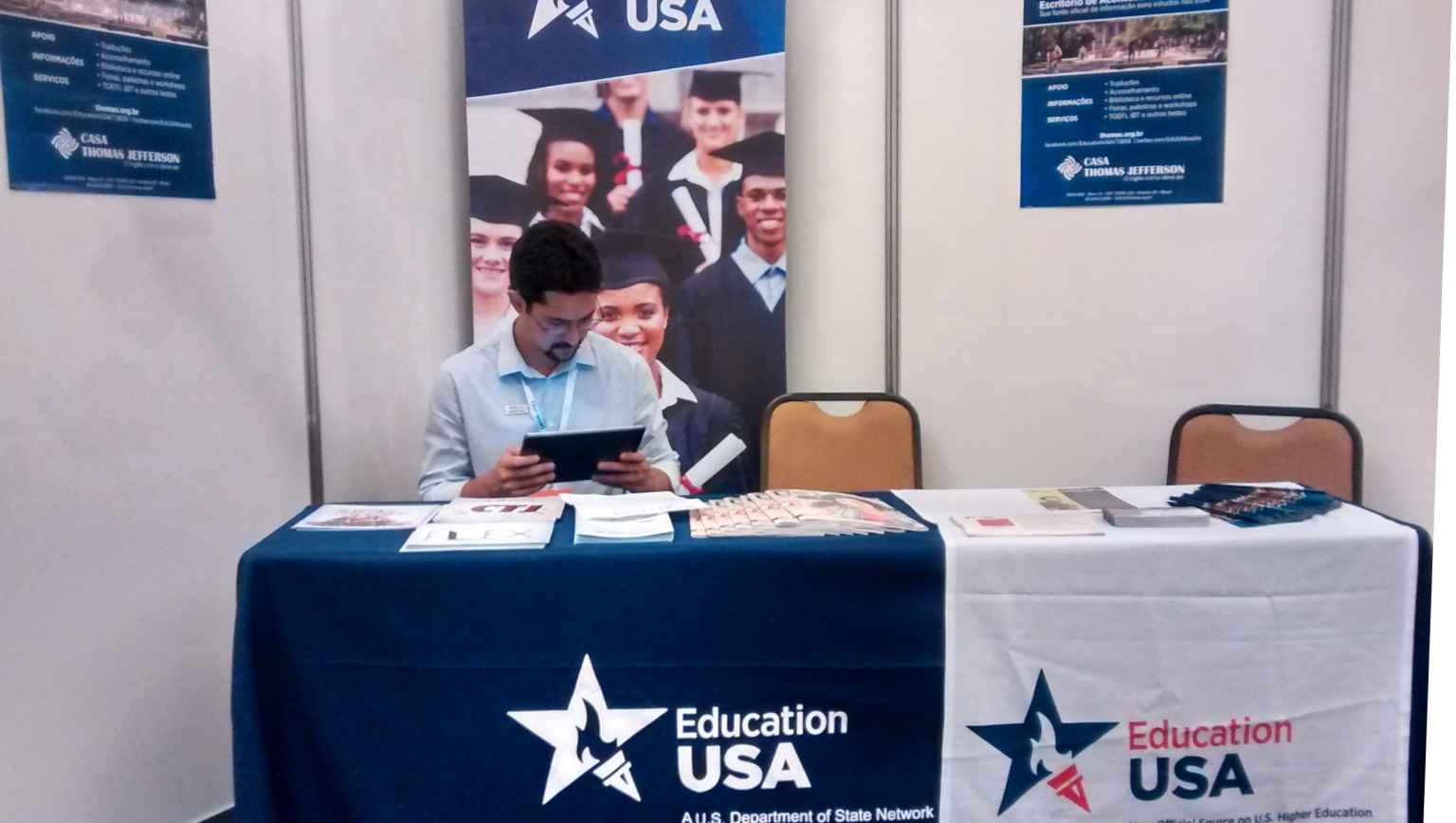International studies avdisor at EducationUSA Stand atfair in Brasilia, Brazil