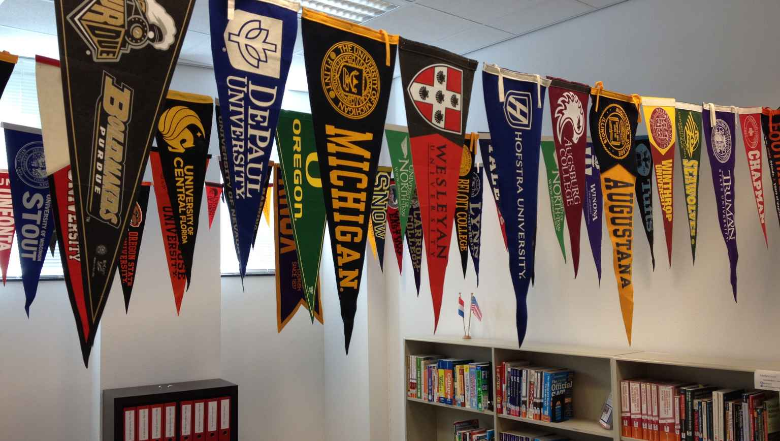 Pennants in the Advising Center