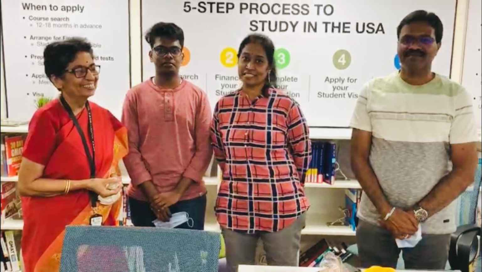 Joyful moments of the family after PDO conducted at Y Axis Foundation Education USA center for UG student Shrujan Shashank who left for Stony Brook for Spring session,2021