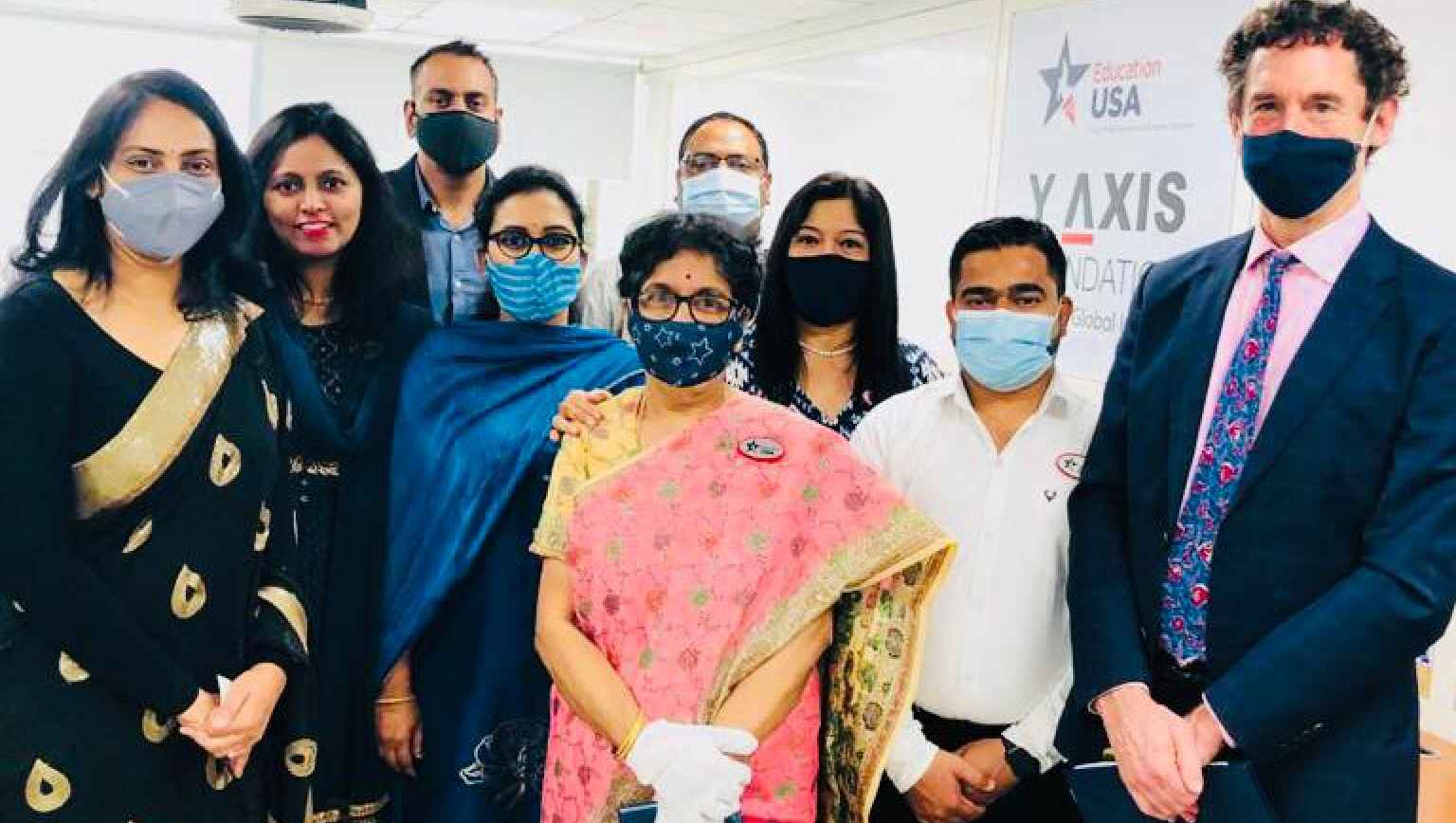Minister Counsellor, Public Affairars, US Embassy, New Delhi, David Kennedy,with the advisers at Y Axis Foundation Education USA center on the day of inauguration on March 5th, 2021