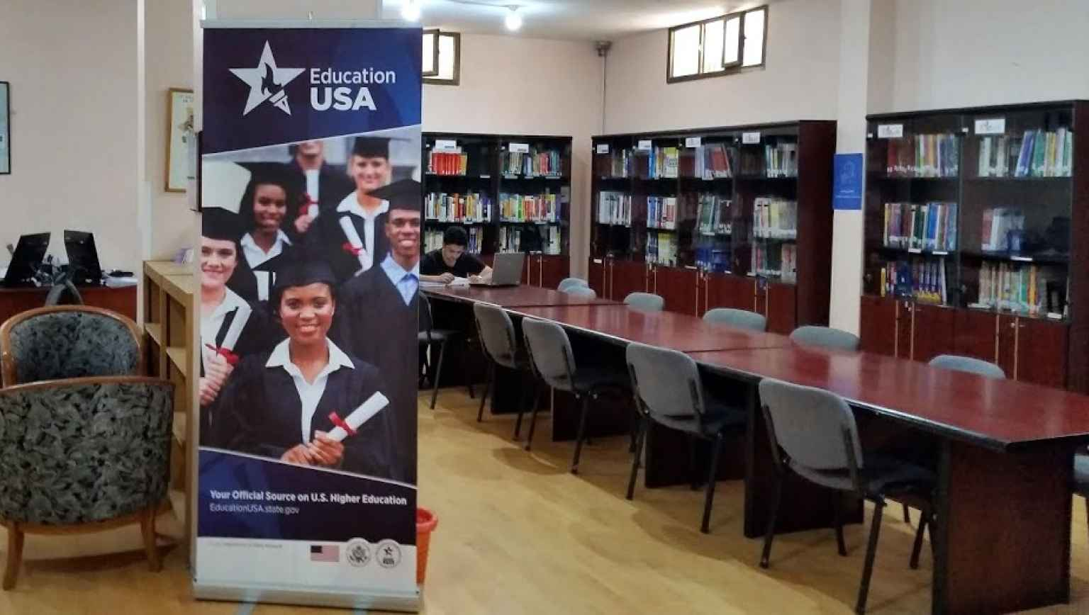 EducationUSA lirbary and study room in Sanaa, Yemen