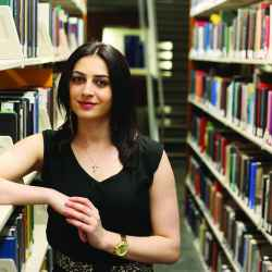 Sonya Hakobyan from EducationUSA in library